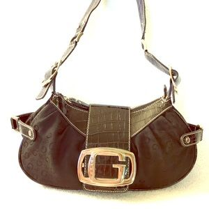 GUESS BLACK Croc Embossed Faux Patent Leather bag